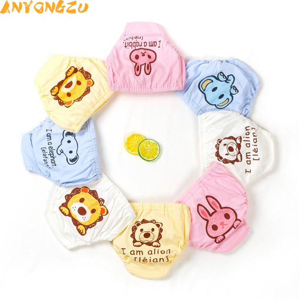 Anyongzu 4pcs Cloth Diapers Baby Training Pants Children cute Cartoon pattern Baby Bread Pants Cotton Washable Diapers 9~16kg