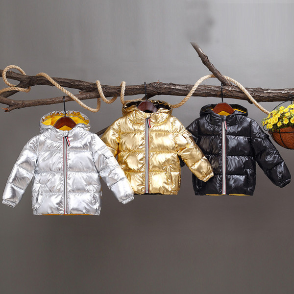 top popular Hooded Down Coats Space Silver Polyester Tinckening Bread Clothes Filling Cotton Inside Yellow Soft Zipper England Style Boys Girls Winter 2021