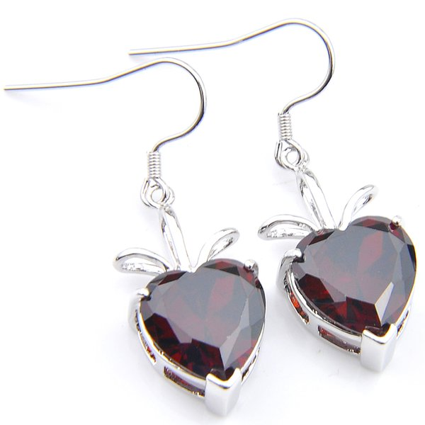 6 Pairs Luckyshine Christmas Gift Red Zircon Gems Earrings 925 Sterling Silver Plated Heart Women Charm Dangle Earrings Jewelry