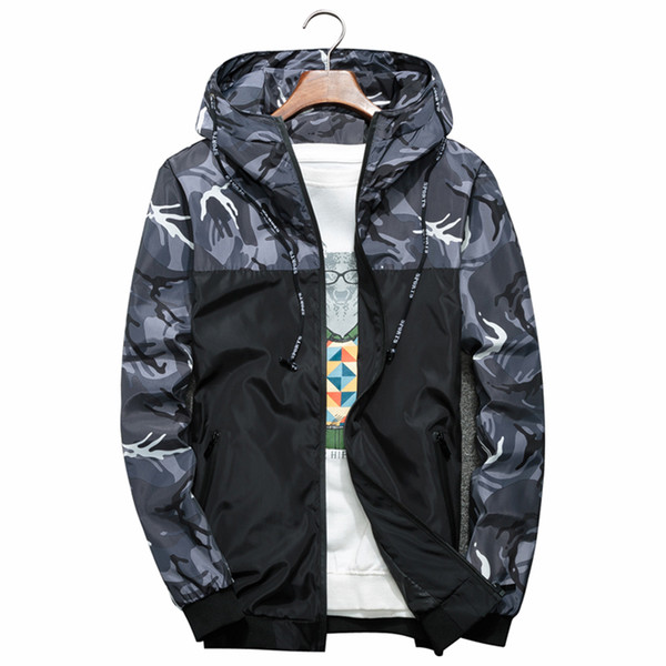 Men Bomber Jacket Thin Slim Long Sleeve Camouflage Military Jackets Hooded 2018 Windbreaker Zipper Outwear Army Brand Clothing