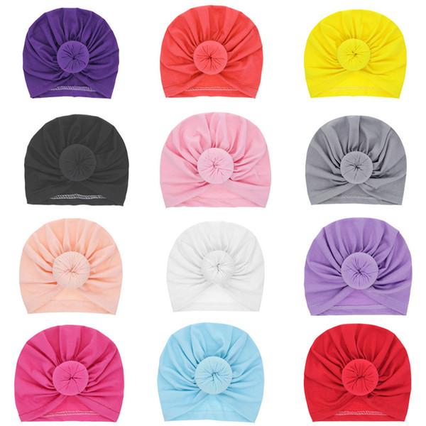 Bébé Enfants Bonnets Cap Unisexe Balle Nœud Turban À Capuchon Crâne Chapeaux Enfant En Bas Âge Casual Chapeaux De Noël Chapeaux 1-3 T HH7-1813