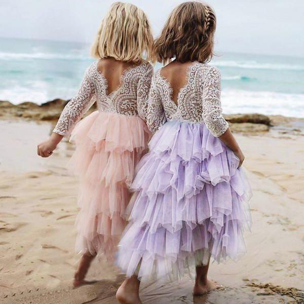 2018 Baby Mädchen Spitzenkleid Backless Gestickte Kinder Prinzessin Party Hochzeit Blume Kleider Blase Rock Mädchen Plissee Ballkleid Kleid