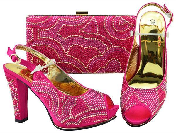 Beautiful fuchsia women pumps with rhinestone design bag for dress african shoes match handbag set JZS-01