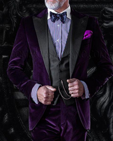 Popular One Button Purple Velveteen Groomsmen Peak Lapel Groom Tuxedos Men Suits Wedding/Prom/Dinner Best Man Blazer(Jacket+Pants+Tie+Vest)