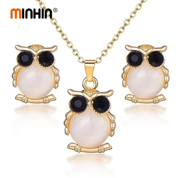 MINHIN Nueva Cadena de mujeres de la llegada joyería fija el oro pendiente del collar earrigns Conjunto Negro búho de ojos conjuntos de joyas de moda linda Dubai