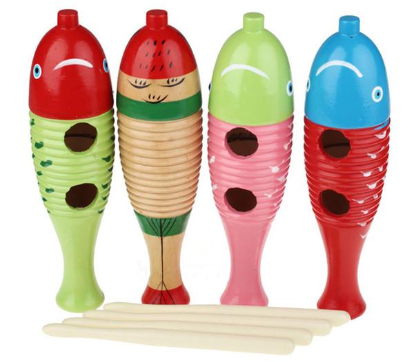 Medium Wood Guiro Musical Instrument Toy Fish Style Strumenti a percussione latina con colore raschietto a caso