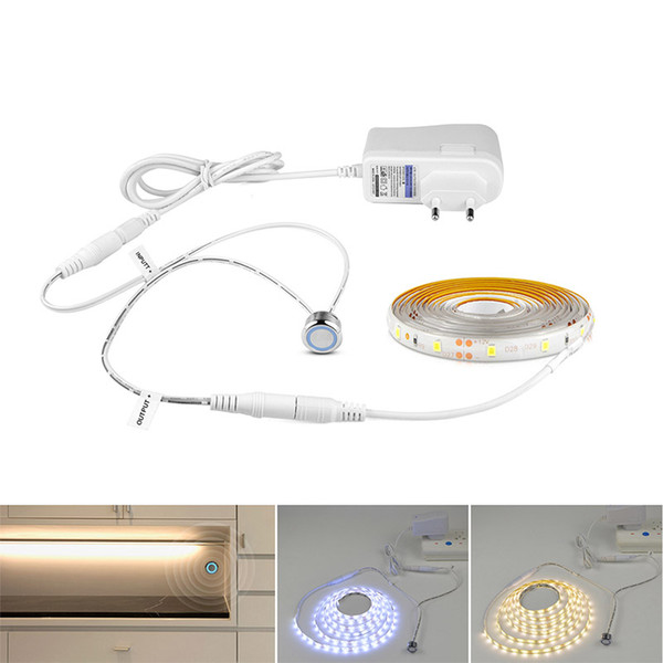 DC 12V LED Strip Light Dimmable with 220V EU Plug Power Supply Touch Switch Dimmer Control LED Tape Kitchen Wardrobe Cupboard