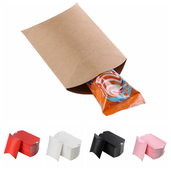 100pcs/set New Colorful Present Pouch Kraft Paper Pillow Candy Box Wedding Favors Gift Candy Boxes Home Party Birthday Supply