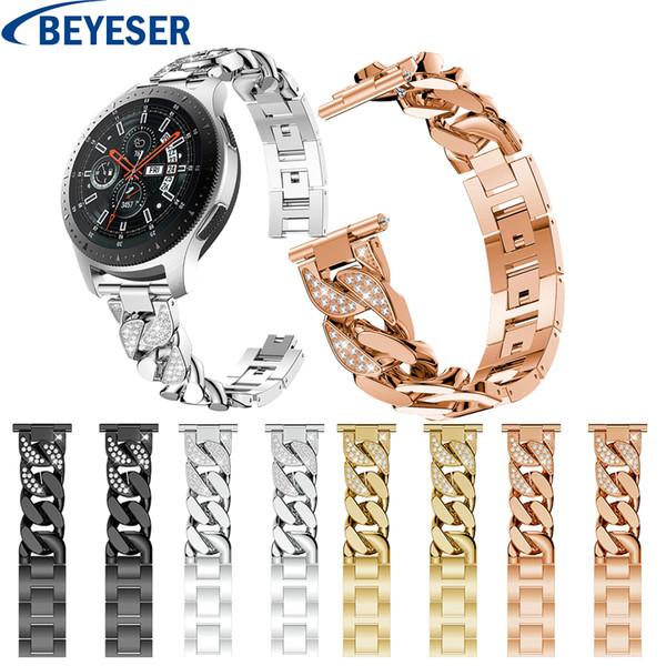 Samsung Galaxy Için Metal Kayış Izle 46mm Watch Band Rhinestone Bilezik Samsung Gear S3 Klasik Sınır Için Paslanmaz çelik