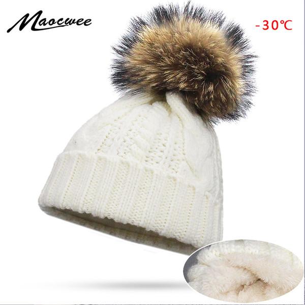 Compre Invierno Mujeres Hombres Naturaleza Pompón Pompones Sombreros ...