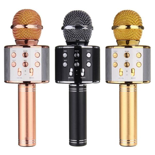 WS-858 Bluetooth Wireless Karaoke Handheld Microphone USB KTV Player Bluetooth Mic Speaker Record Music 10pcs/lot