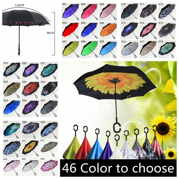 best selling Outdoor Inverted Umbrella Windproof Inside Out Double Layer Nylon Fabric C-Hook Hands Sun Rain Folding Reverse Umbrellas YM001-YM046