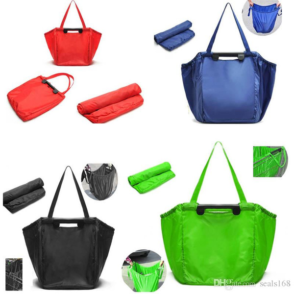 Reusable Grab Bag Nylon Shopping Grocery Bag Insulated Tote Foldable Supermarket Large Capacity Foldable Storage Holds Bag HH7-1713