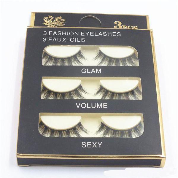 HOT Natural Handmade Black False Eyelashes Fashion Makeup Fake Eyelashes Cross Messy Soft 3D Eye Lashes 3pairs/set DHL shipping
