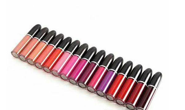 diseñador de la marca m lipgloss maquillaje Lápiz labial líquido mate retro Brillo de labios 5 ml con nombre 15 color cara cosmético Labios Maquillaje B761