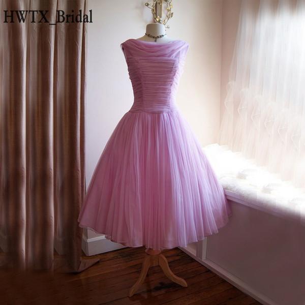 1950 thé longueur mère de la mariée Robes Taille Plus encolure bateau en mousseline de soie lilas Corset 2018 de bal Parti robe de robe formelle