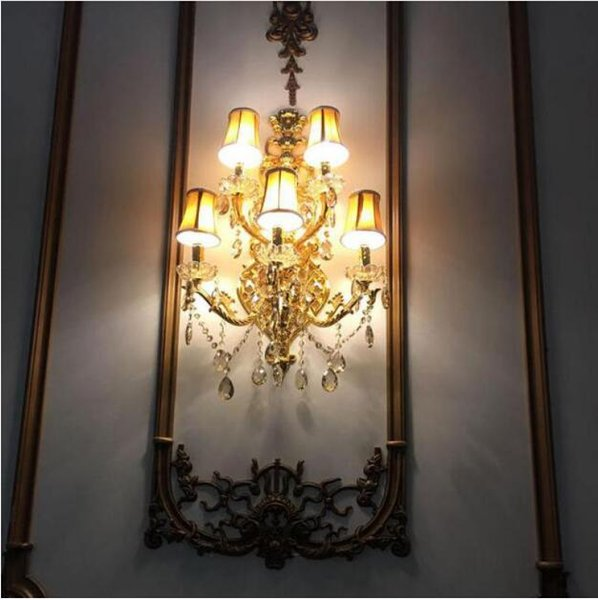 svitz hallway Brand 5-arm gold crystal Wall Lamp sconce Led light fixtures living room contemporary Hotel wall Candle Lamps Arandela