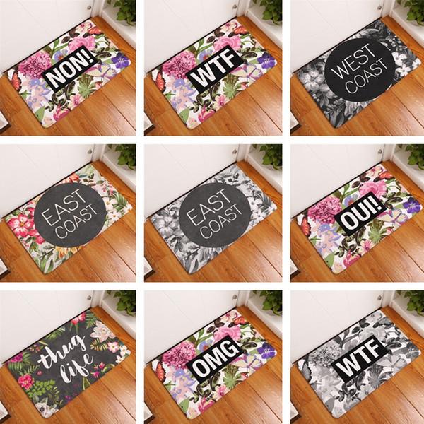 15 stili Lovely Print Tappeti antiscivolo Tappetino coperta Tappeti per porte d'ingresso stuoie 30pcs / lot T2I344