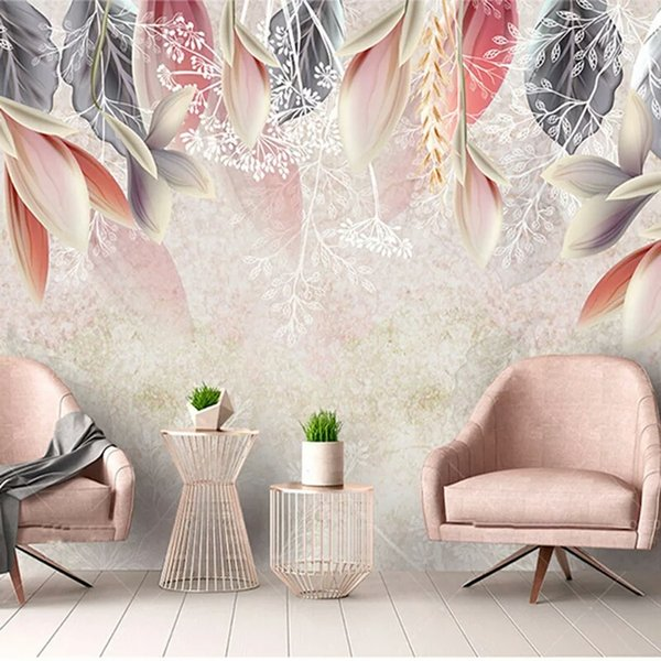 3D Custom Wallpaper Vintage Hand Painted Flowers Nordic Minimalist Living Room TV Background Mural Environmental Non Woven Mural Hd Wallpapers Free Hd