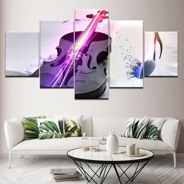 Modern Music Room Decorative Painting 5 Panel No Frame Music Trumpet Violin Guitar Oil Painting On Canvas HD Print Wall Art Poster