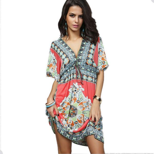 6f1b01dec6 African Print Kaftan Plus Size Beach Dress Women Dashiki Summer Dresses  Ethnic Boho Bohemian Robe Loose