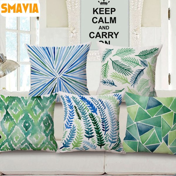 SMAVIA Green Plants Printed Pillow Towel 45*45 cm Polyester Pillowcase Chair/ Seat/ Bed Throws Pillow Covers Home Textile Case