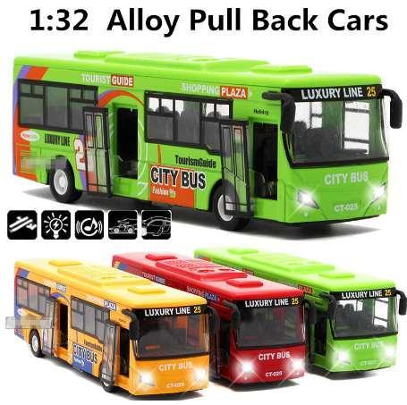 1:32 modelli di auto in lega, autobus di città di alta simulazione, diecasts del metallo, veicoli giocattolo, tirare indietro lampeggiante musical, spedizione gratuita