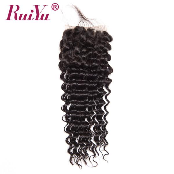RUIYU Cheveux Brésiliens Deep Wave Fermeture Avec Des Cheveux De Bébé 4