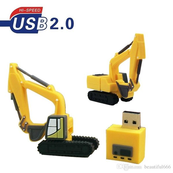 100% Real Capacity Cartoon Excavators Truck USB2.0 Flash Drive 16GB~128GB Memory Stick