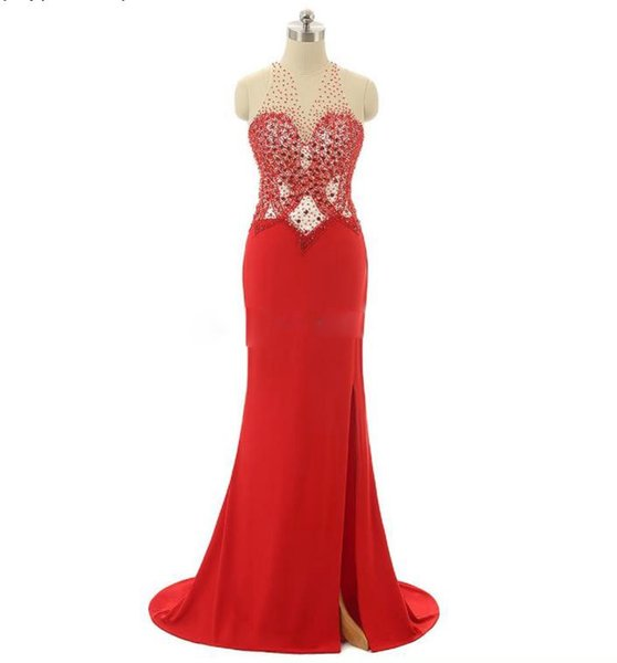 Wholesale high neck design women prom dress halter high split backless red puffy prom dress with heavy beading and small tail party dress
