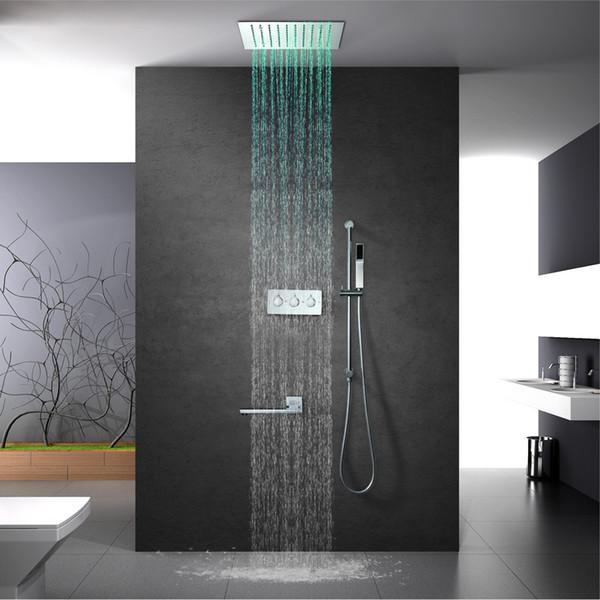 Le changement de couleur multi de luxe a mené des robinets de douche encastrés de plafond de douche de douche avec le massage de barre de glissière