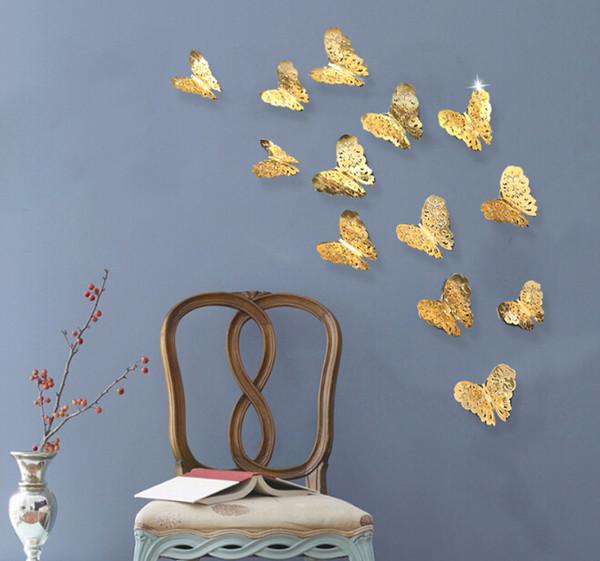 3d oco borboleta adesivos de parede de prata adesivos de parede de ouro para geladeira adesivos home party decoração do casamento