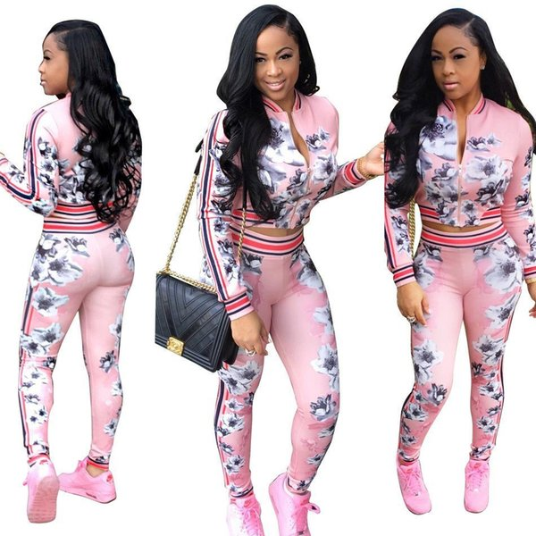 Autumn Floral Fashion Women Sportsuits Sexy Zipper 2 Pieces Sets Casual Coat Jacket tops And Long Pants Suit Trousers Ladies Tracksuits