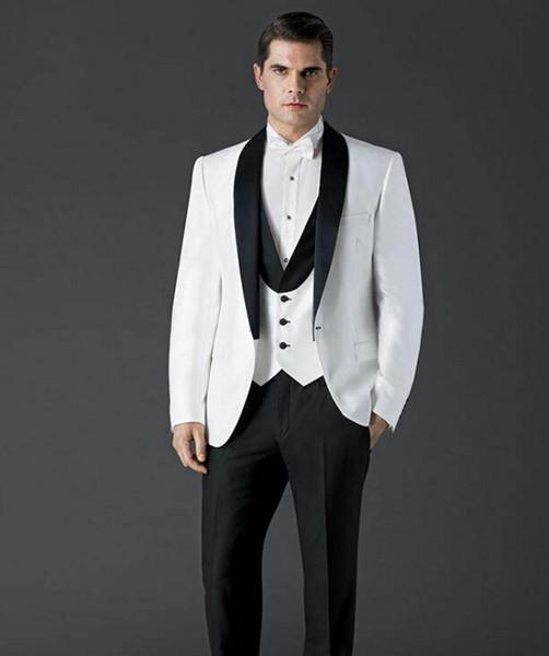 Classic Design Ivory Groom Tuxedos Black Shawl Lapel One Button Groomsmen Mens Wedding Tuxedos Excellent Man Suit(Jacket+Pants+Vest+Tie)103