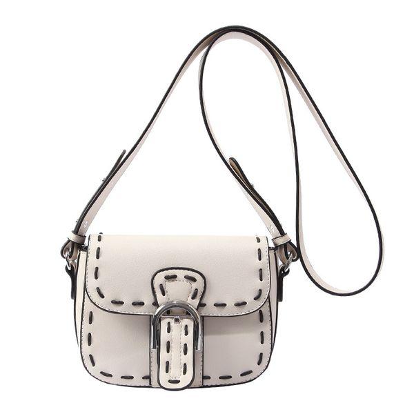 New Suture Saddle Bag Women Bag Fashion Pu Leather Handbag One Shoulder Cross-body Bag Simple Black White