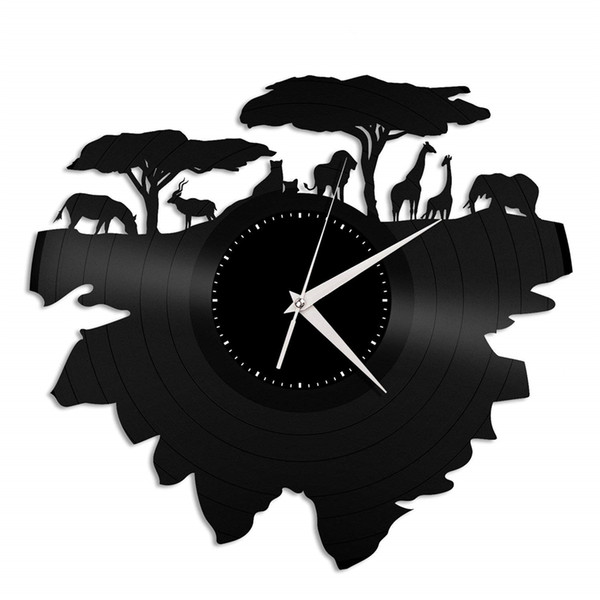 Wild animals vinyl record wall clock modern home decor light wall art kitchen bedroom living room decorations christmas personalized gifts