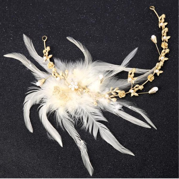 Bridal feathered headwear, golden soft chain hoop set, wedding dress, accessories, hair, bridal ornaments.