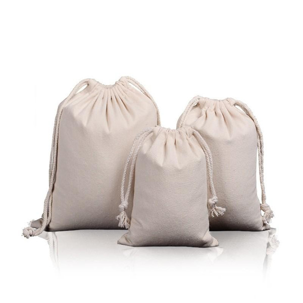 Pure Cotton Canvas Drawstring Bag Portable Outdoor Travel Jewelry Plaything Luxury Beige Storage Bags Wedding Party 4 2ss7 ff