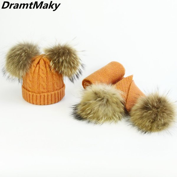 Children Real Fur Pompom Winter Hat and Scarf Set Skullies Beanies Warm Cap Elasticity Knit Hats Kids Fur Pom Pom Hats Girls Boy