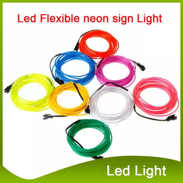 best selling 3M Led strip Flexible neon sign Light Glow EL Wire Rope Tube Neon Light 8 Colors Car Dance Party Costume+Controller christmas Lights