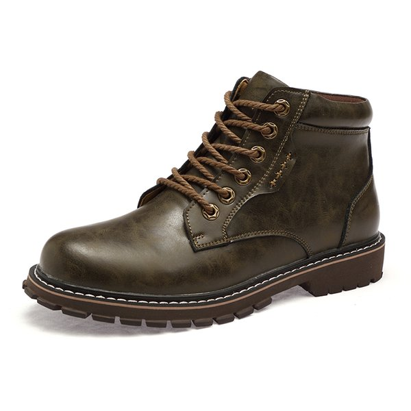 Men Classic Cowhide Martin Boots Genuine Leather Snow Ankle Boots Hiking Boots Outdoor Lace-up Shoes Cowboy