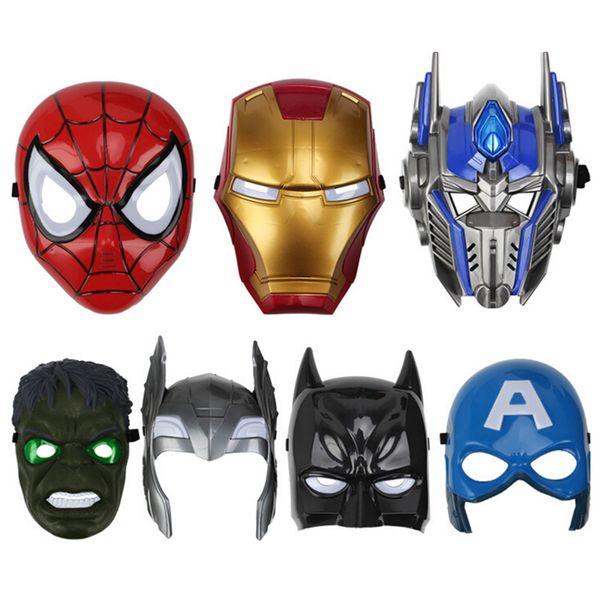 Máscaras LED para niños Animación de dibujos animados Spiderman Mascarilla ligera Máscaras faciales llenas Disfraces de Halloween Fiesta