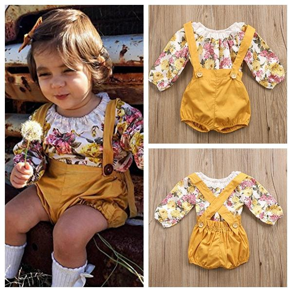 Newborn kids baby girls outfits clothes long sleeve flaoral romper +yellow suspender shorts pant 2pcs/set outfits kids girls fashion suit
