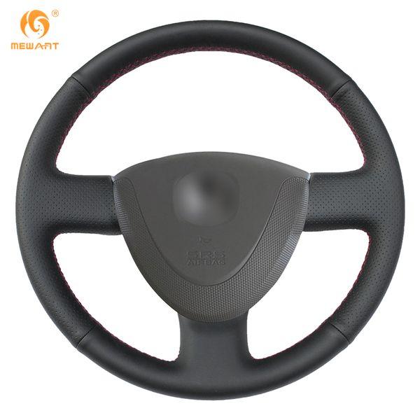 DIY MEWANT Black Genuine Leather Car Steering Wheel Cover for Honda City 2002-2008 Fit Jazz 2001-2007