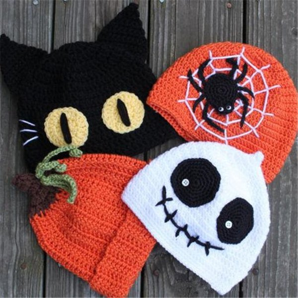 20%NEW Children Halloween Hats Caps 4 Style Boys girls Spider Pumpkin Ghost Cat Crochet Handmade Kids Hats Baby Knitted Hat Cap LE127