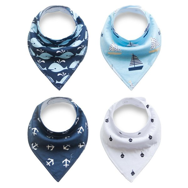 4Pcs Set Baby Bibs For Feeding Soft Cotton Bibs For Children 0 to 6 Year Old Scarf Baby Burp Cloths