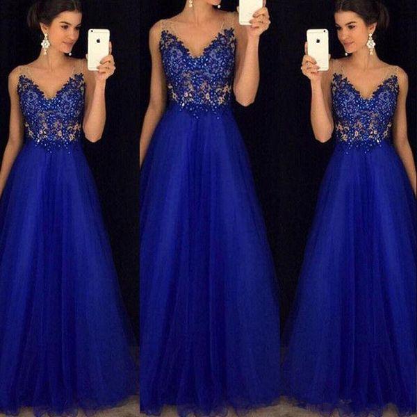 Azul Royal Apliques de Renda Frisado 2019 Vestidos de Baile V Pescoço A Linha de Tule Longo Vestido de Noite Celebridade Pageant Vestido Desgaste Do Partido Formal