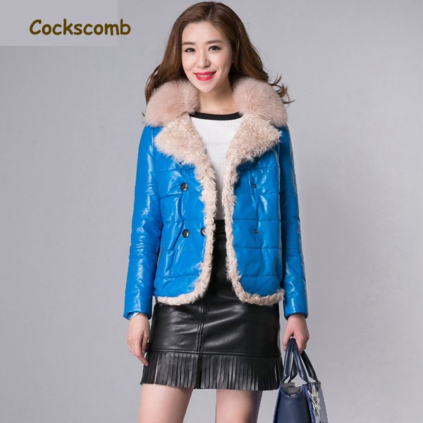 Cockscomb Real Fox Fur Collar Lamb Fur Trim Women's Leather Jackets Women Short Natural Leather Jacket Female Sheepskin Coat