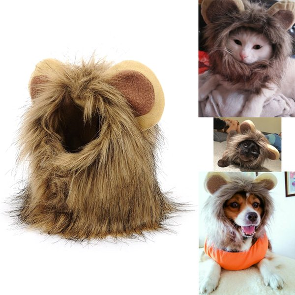 Creative cat headsets with fake ears for the lion's head and a new pet fancy hat