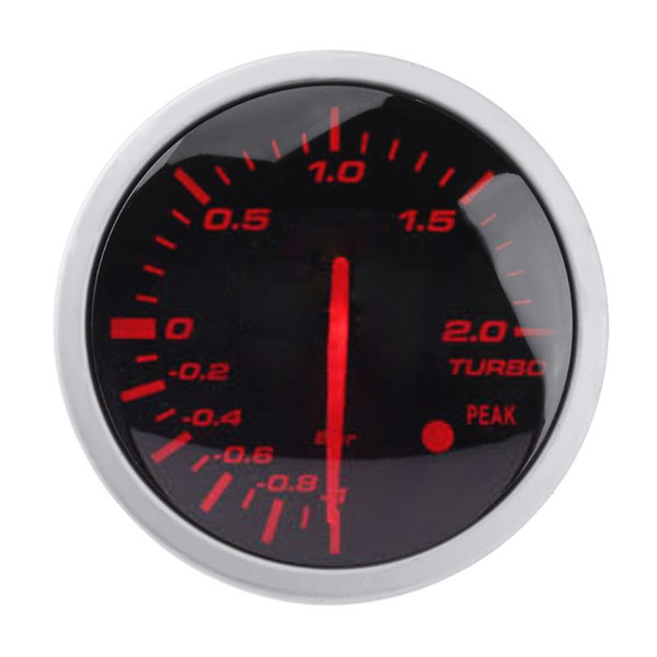 VODOOL Universal Racing Car Turbo Boost Gauge 60mm 2.5in Blanco + Medidor de luz roja Racing Gauge con sensor